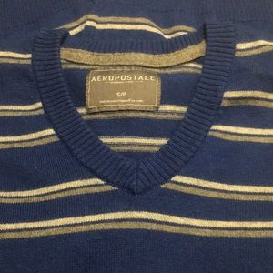 Men's Aeropostale  blue striped v-neck sweater S